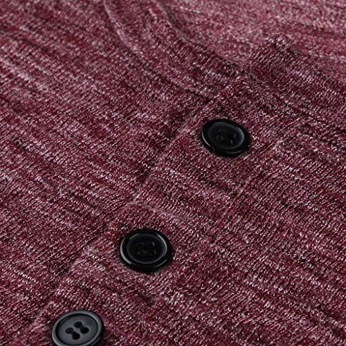 Men Casual Vintage Long Sleeve Button Up V-Neck T-Shirt Henley Tops