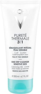 Vichy Pureté Thermale 3-in-1 Gentle Face Cleanser, Toner & Eyes Makeup Remover, with Shea Butter. Lightweight milky, non-o...