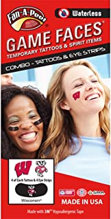 University of Wisconsin (UW) Badgers – Waterless Peel & Stick Temporary Tattoos – 12-Piece Combo – 4 Cardinal W Logo & 4 Bucky Badger Logo Spirit Tattoos & 4 Bucky Badger Logo on Black Eye Strips