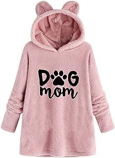 NANTE Top Women's Blouse Dog Mom Print Embroidery Plush Hooded Collar Long Sleeved Sweatshirt Winter Warm Coat Womens Blouses Tops