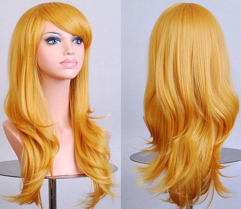 Neue stilvolle Damen-hohe Temperatur-Silk realistische Perücke stellt Cosplay Perücke ein Anime-Farbe lange lockige Haar-Perücken volle Perücken mit schrägem Knall-täglichem Salon-Party-Perücken , Golden B0793LNM29 Billi