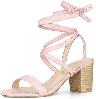 Allegra K Women's Open Toe Mid Chunky Heel Lace Up Sandals