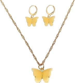Colorful Acrylic Butterfly Pendant Dainty Choker Necklace and Drop Dangle Hoop Earrings Bohemian Friendship Charm Jewelry ...