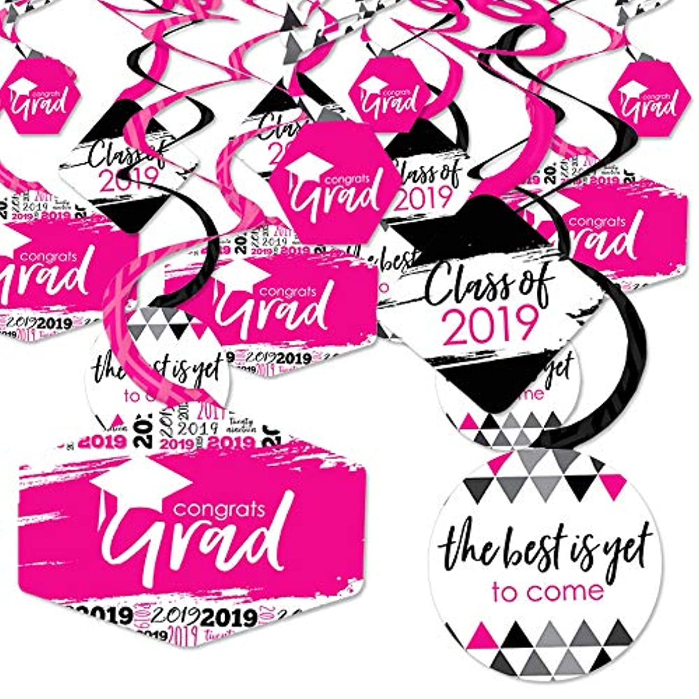 Pink Grad - Best is Yet to Come - 2019 Pink Graduation Party Hanging Decor - Party Decoration Swirls - Set of 40