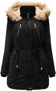 iLOOSKR Winter Thicken Keep Warm Hooded Coat Womens Fashion Zip Pockets Jacket Long Sleeves Corduroy Overcoat