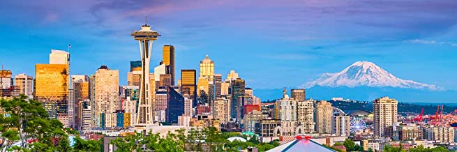 Seattle Skyline PHOTO PRINT UNFRAMED Dusk Color City Downtown 11.75 inches x 36 inches Rainier Photographic Panorama Poster Picture Standard Size
