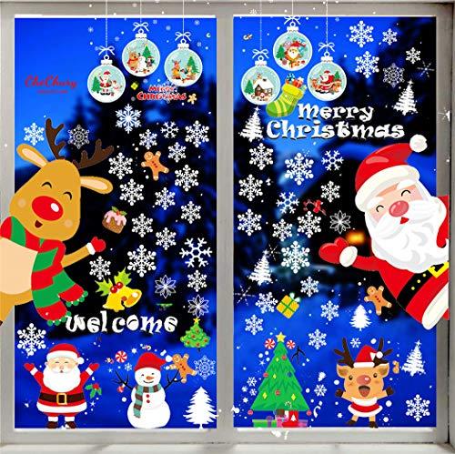 Yutdeng Pegatinas de Navidad Papá Noel Muñeco de Nieve Alce de la Puerta Decoración Ventana Bricolaje Reutilizable Pared Etiqueta Engomada 30 cm * 40 cm 3 Hojas