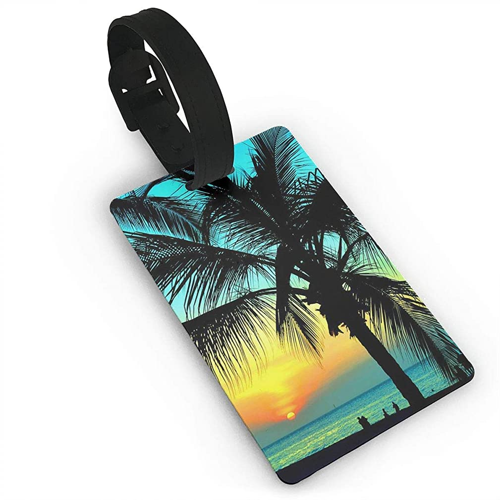 MTcheufloure Palm Tree Sunset Luggage Tag Suitcase Labels Bag Travel Accessories ID Cards for Luggage Baggage Travel Identifier Luggage Tag