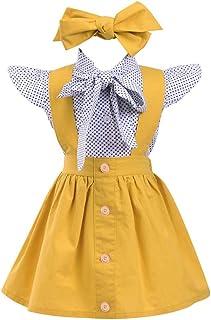 Conjuntos para Niñas Blusas + Falda de Tirantes + Diadema de Impresion Lunares de para bebés Niñas Verano Manga Corta de 12 Meses 24 Meses 3 años 4 años 5 años