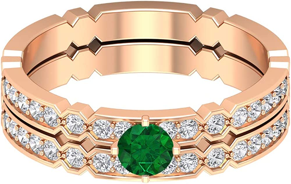 4.00 MM Solitaire Emerald Ring Eternity Gol Max 71% OFF HI-SI Regular store Diamond Band
