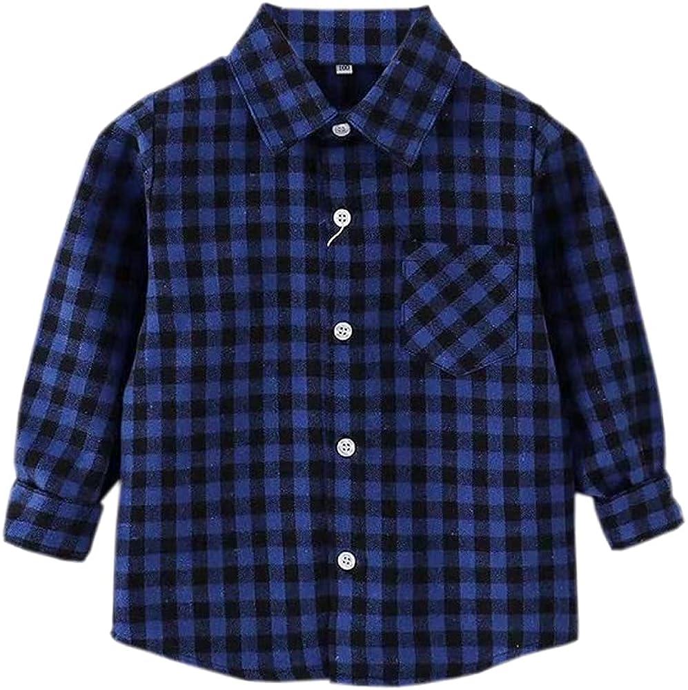 SHOOYING Little Boys Long Sleeve Shirt Down Arlington Mall Button Our shop OFFers the best service Plaid