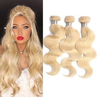 613 Body Wave 3 Bundles Same Length 20in,100% Brazilian Blonde Weave Wavy Weft Human Hair Bundles Extensions(20 20 20 inch)