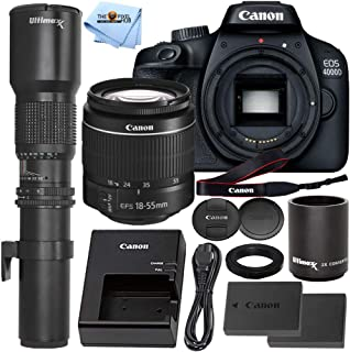 Canon EOS 4000D DSLR Camera with 18-55mm f/3.5-5.6 III + 500mm/1000mm Preset Telephoto Lens + Extra LP-E10 Rechargeable Ba...