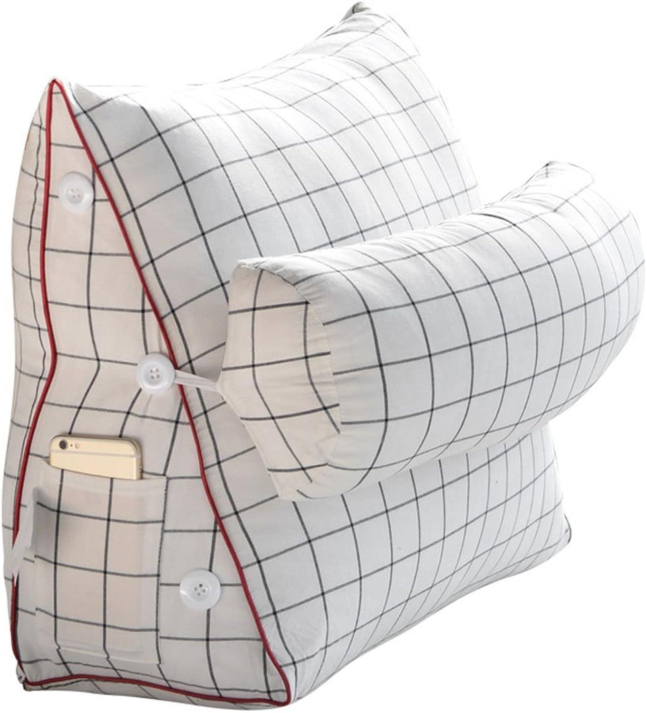Cushion Office Car Triangle Waist Cushion, Living Room Sofa Seat Cotton Cushion, Bedroom Headboard Pillow Cushion (color   White, Size   582250cm)