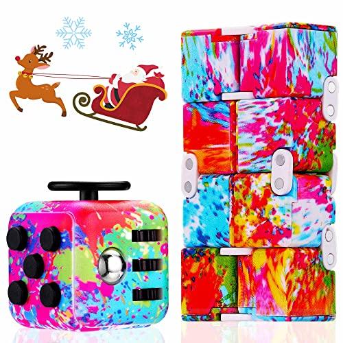 Paochocky Jouets Sensoriels Anti Stress Cube et Cube Infini coloré tie-Dye pour Les Enfants Adultes pour TDAH Autisme Anxiété