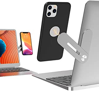 Side Mount Clip on Monitor Magnetic Laptop Stand with Phone Holder Computer Expansion Bracket for iPhone Smartphone Cellph...