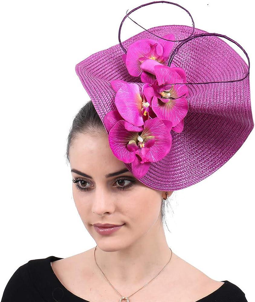 Women Millinery Fascinator hat Floral Bridal Elegant Married Headpiece SYF590