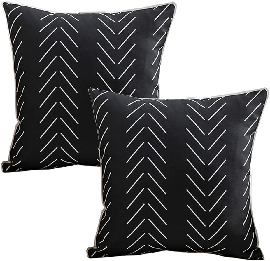 FanHomcy Accent Decorative Throw Pillow Covers Durable Outdoor Pillowcases 18 X 18 for Patio Furniture Couch Bedroom, Set of 2,Black Geometric