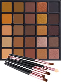 Matte Shimmer Eyeshadow Palette, Vodisa 25 Smoky Warm Color Eye Shadows Glitter Makeup Kit Make Up Brushes Set Nature Nude Earth Tone Waterproof Beauty Cosmetics High Pigment Powder Pallet 25A