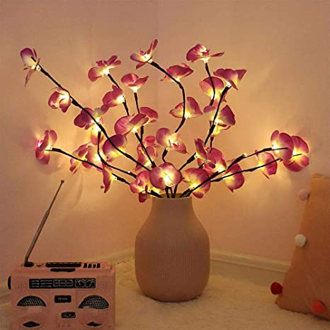 Amazon Com Esoes Phalaenopsis Tree Branch Lights Led Branches Battery Powered Decorative Lights Tall Vase Filler Willow Twig Lighted Branch For Home Party Garden Decoration Pink Home Kitchen