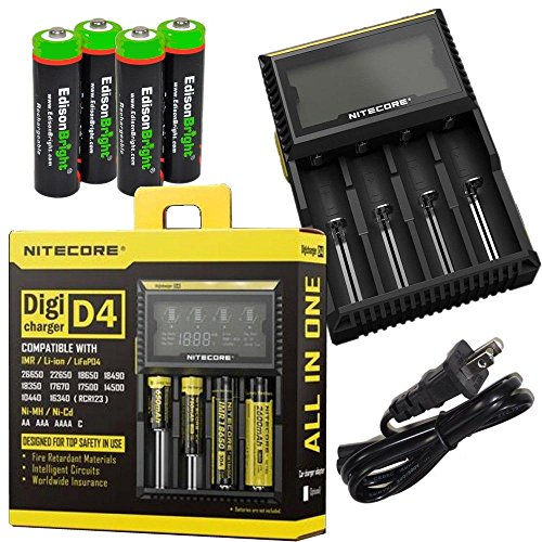 Nitecore D4 smart battery Charger for Li-ion, IMR, 26650 18650 17500 18350 16340 RCR123 14500 Ni-Cd AA AAA C Rechargeable Batteries w/ 4 x EdisonBright Ni-MH rechargeable AA batteries bundle