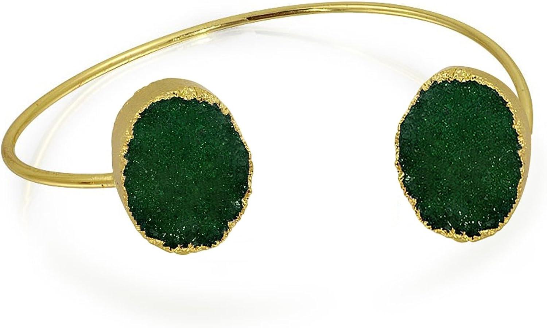 Boho Fashion Bohemian Thin Stackable Blue White Green Organic Druzy Bangle Cuff Bracelet for Women Teen Gold Plated