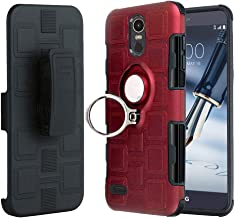LG Stylo 3, LG Stylo 3 Plus, Stylo 3 Case, Slim Drop Protection Cover, Improved Ring Grip Holder Stand, Holster Belt Clip, Metallic Circle Protective Phone Case - Red