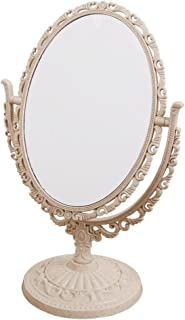 XPXKJ 7-Inch Tabletop Vanity Makeup Mirror with 3X Magnification, Two Sided ABS Decorative Framed European for Bathroom Bedroom Dressing Mirror (Oval, Beige)