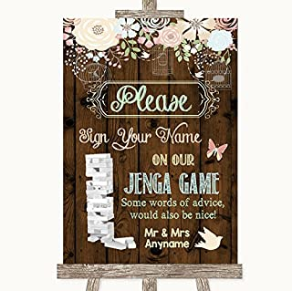 Rustic Floral Wood Jenga Guest Book Personalized Wedding Sign