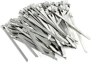 Mecion 100pcs 4inch Stainless Steel Zip Ties Exhaust Wrap Multi-Purpose Locking Cable Ties