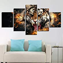 yzbz 5 Panel Canvas Painting Home Decoration Modern Wall Art Living Room Roaring Tiger Animal Hd Print Modular Pictures Poster-size1-Framed