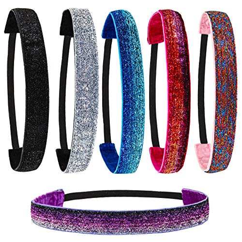 6 PCS Glitter Headbands for Girls, NonSlip Kids Headbands for Girls, Hair Accessories for Girls, Sparkly Girls Headbands for Teen Girls, Cute Elastic Headbands for Women, Girl Headband