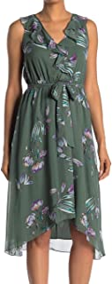 RACHEL Rachel Roy Womens Odele Printed Ruffled Wear to Work Dress