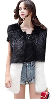 Simsly Autumn Fur Vest Sleeveless Lightweight Faux Fur Vests Winter Warmer Jacket Coat for Women and Girls(Black and White)