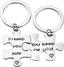 MAOFAED Sister Puzzle Keychain Couple Keychain Set You Keep Me Wild I'll Keep You Safe Keychain Set of 2