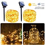 Outdoor Solar String Lights, 2 Pack 33FT 100 LED Solar Fairy Lights Waterproof