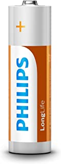 Philips 1.5 Volt Longlife Hhouehold Alkaline AA Battery 12-Pieces Pack, (18194)