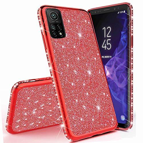Miagon für Xiaomi Mi 10T Pro Glitzer Hülle,Bling Überzug Glänzend Strass Diamant Weich TPU Silikon Handy Hülle Etui Tasche Schutzhülle Case Cover