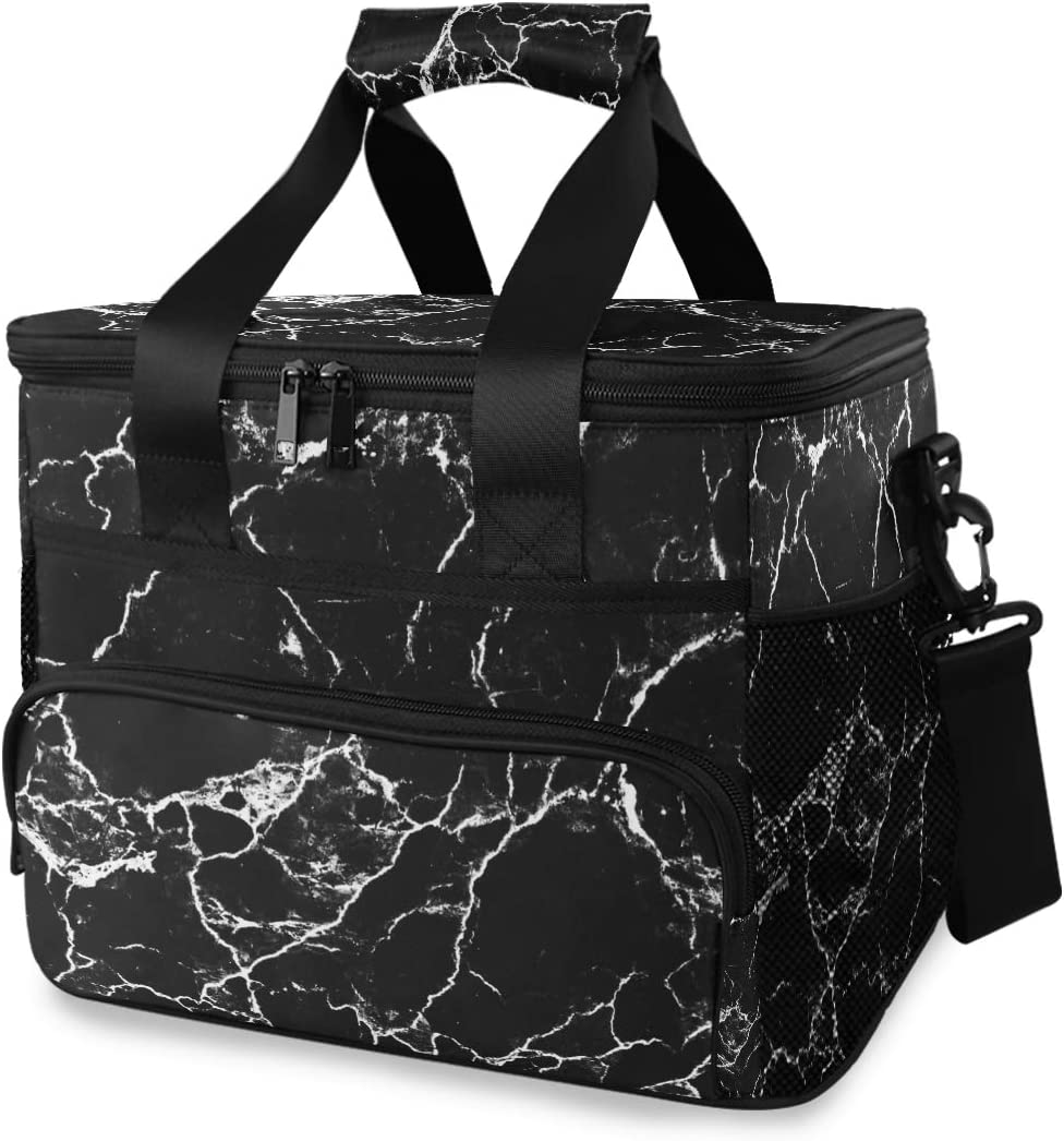 TropicalLife Cooler Lunch Bag Sales for sale Retro Patte Black Marble White Max 44% OFF and