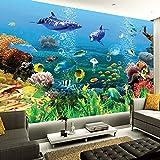 Msrahves Fotomural Vinilo de Pared Delfines peces de aguas profundas corales Fotomurales 3D Pintura Óleo Fotográfico Mural Papel Pintado Fotomurales Salón Dormitorio Decoración de Paredes Moderna Wall