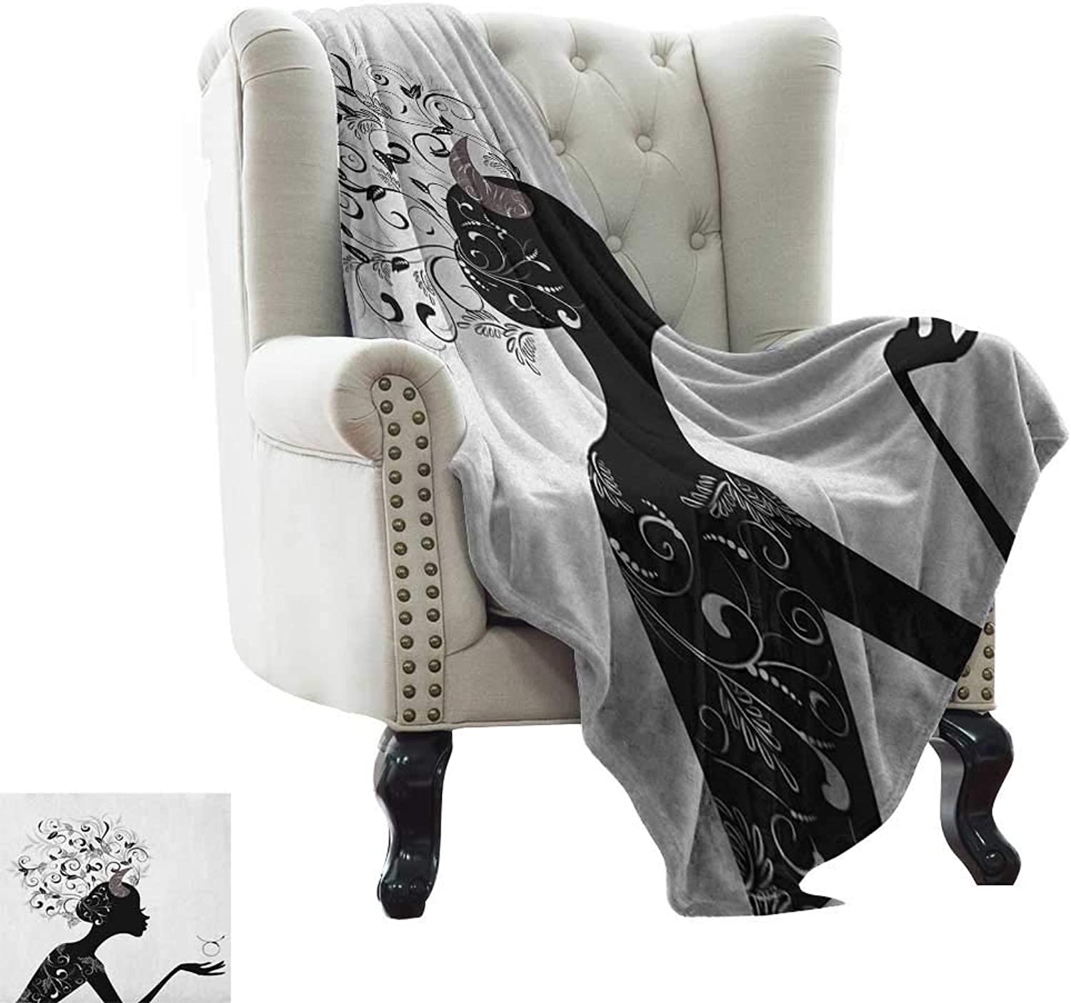 BelleAckerman Toddler Blanket Zodiac Taurus,Fashion Girl Black Silhouette with Floral Hairdo and Dress Modern Icon, Black and White Microfiber All Season Blanket for Bed or Couch 35 x60
