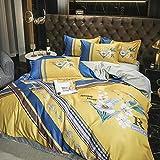 Venta De Fundas Nordicas,60 huellas de seda, juego de cuatro piezas, lavado de agua, seda suave suave y reversible SLR cama doble, un solo edredón especial con funda de almohada, adecuado para niños