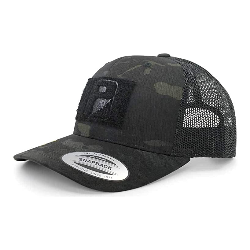 Pull Patch Tactical Hat Authentic Multicam Camo Snapback, Black Camo on Black Trucker Round Bill Baseball Cap, Hook & Loop Fastener With FREE US Flag Patch