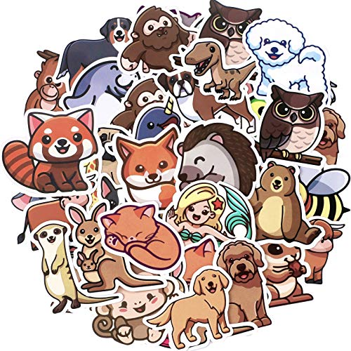 100 Pieces Cute Nature Animal Stickers Vinyl Waterproof Animal Decals Water Bottle Stickers Cartoon Animal Decorative Stickers for Laptop Luggage Car Bike Phone Kids Party Favor Stickers