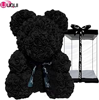 U UQUI Rose Bear Teddy Forever Artificial Flowers The Best Gifts for Valentine's Day, Anniversaries, Birthdays, Weddings and Mother, Black | Small (10