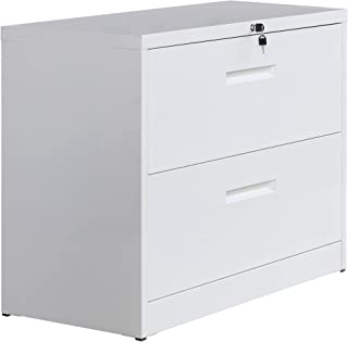 Lateral File Cabinet Lockable Heavy Duty Metal Two Drawer Lateral File Cabinet White File Cabinet (White, 2-Drawer)