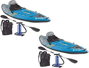(2) SEVYLOR QuikPak K1 One Person Inflatable Coverless Kayaks w/ Paddle & Pump