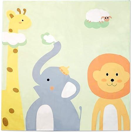 PLIN お食事マット 床 食べこぼし マット 防水 ベビー 赤ちゃん 幼児 椅子 テーブル 離乳食 (動物, 130cm × 130cm)