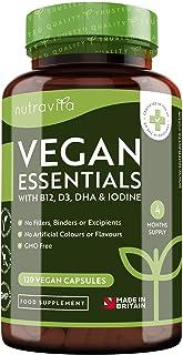 Multivitamínica y multimineral que sirve como apoyo para las di vitamina Dietas veganas - Con vitamina B12,3, DHA, yodo, hierro y zinc - Producto elaborado en el Reino Unido por Nutravita