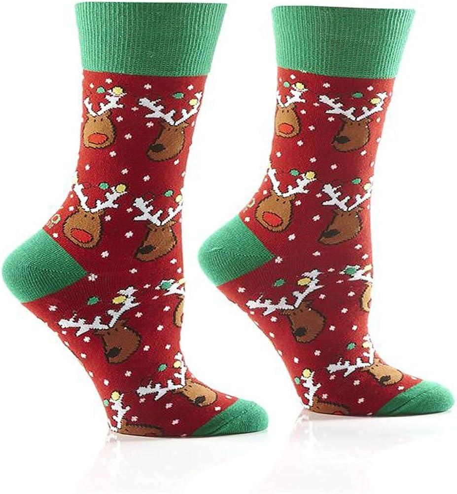Yo Sox Women's Crew Socks Christmas lights Snow Rudolph the Red Nose Reindeer & friends